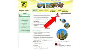Hinweis auf die Rubrik Verkehrsbeeinträchtigung Homepage