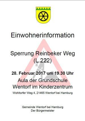 Einladung zur Einwohnerinformationsveranstaltung Reinbeker Weg