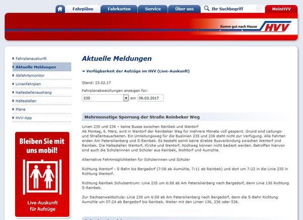 Externer Link: HVV Meldung Homepage