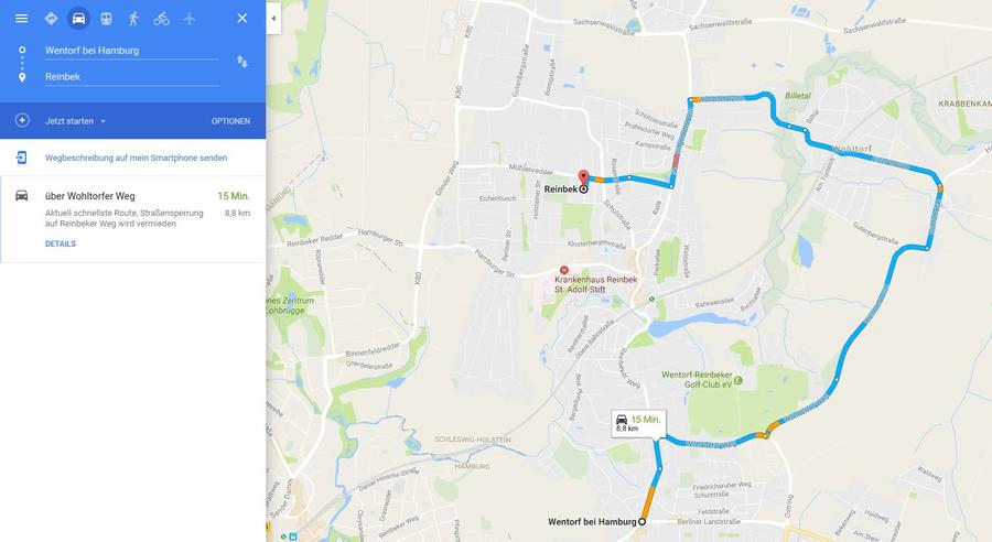 Google Maps Routenplaner Wentorf nach Reinbek