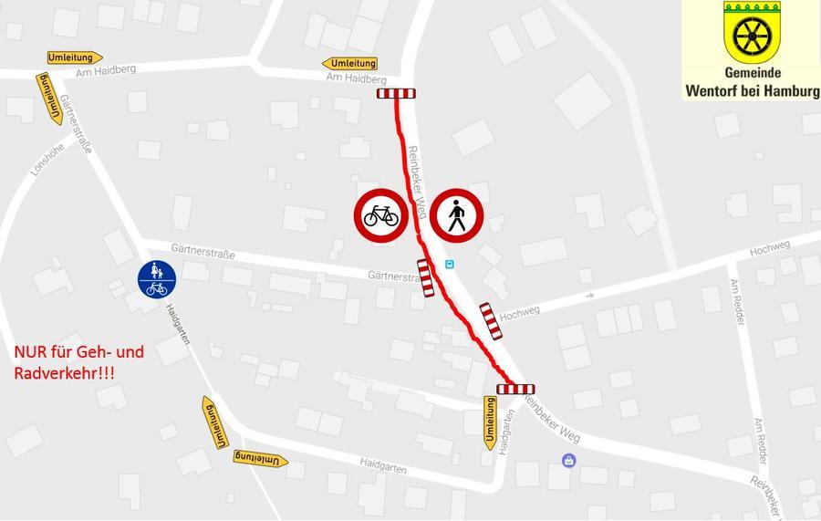 Umleitungsplan für Geh- und Radverkehr