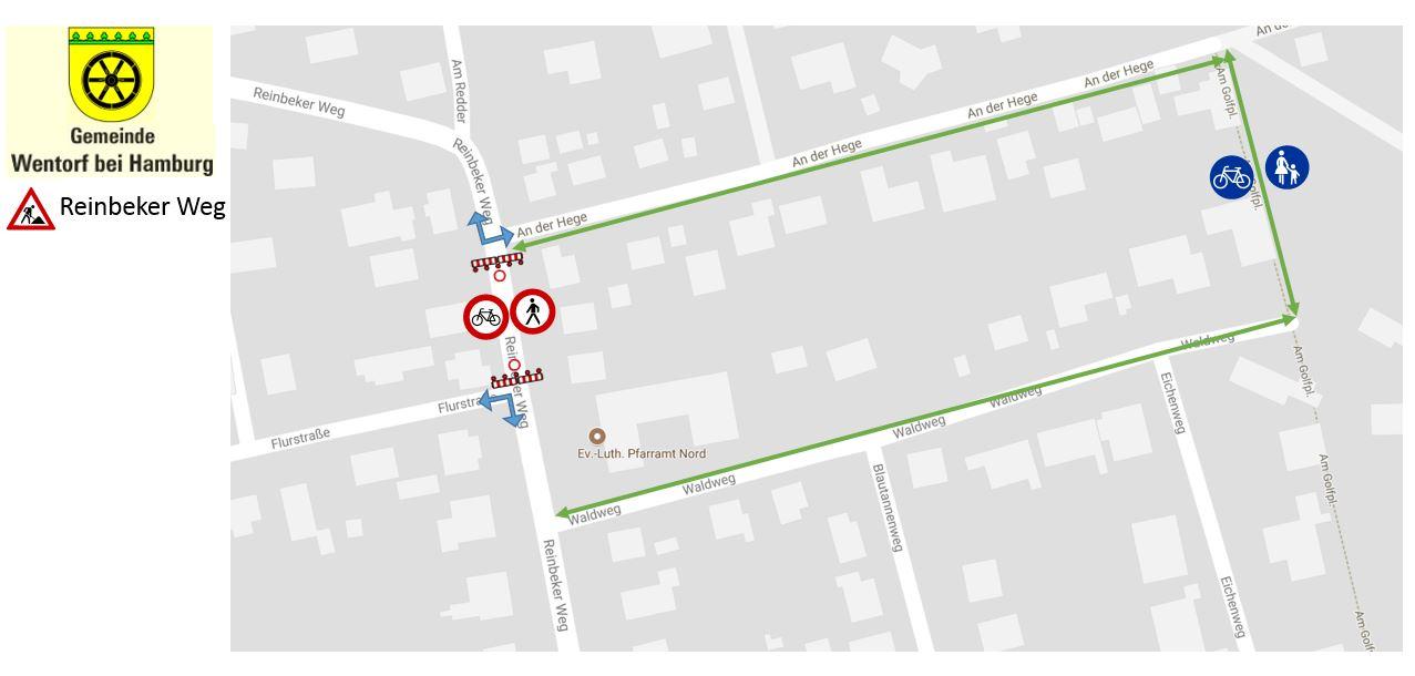 Umleitungsstrecke Sperrung Radfahrer und Fußgänger zwischen An der Hege und Flurstraße