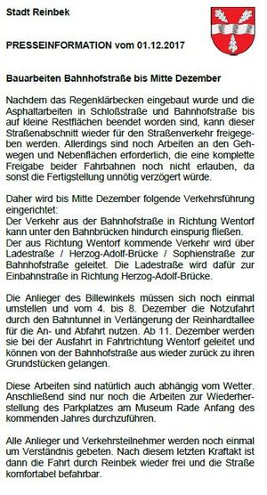 Pressemitteilung Reinbek Baufertigstellung Dezember