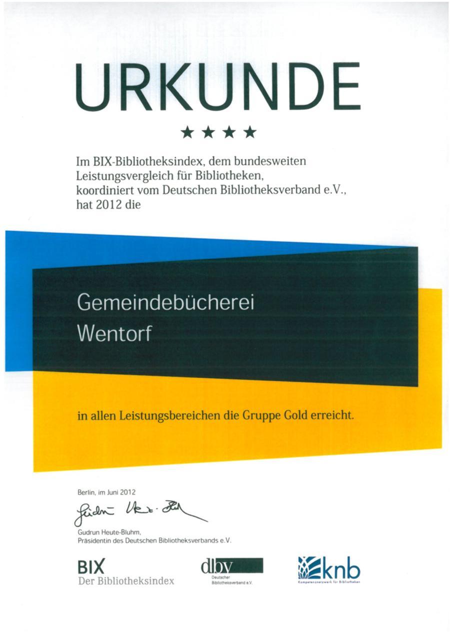 BIX-Bibliotheksindex Urkunde 2012
