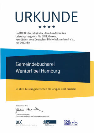 BIX-Bibliotheksindex Urkunde 2013