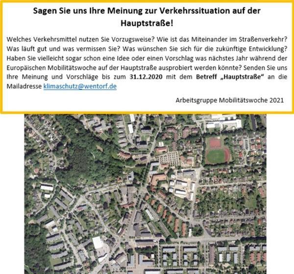 Aufruf zur Öffentlichkeitsbeteiligung und Luftbild der Wentorfer Hauptstraße